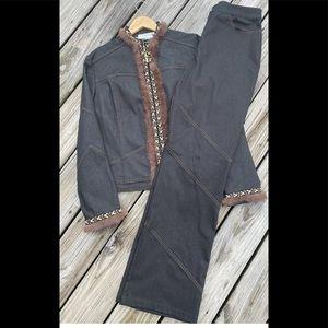 St John denim jacket with pant set size 12